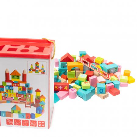 Cuburi construcție din lemn in cutie - 100 piese0