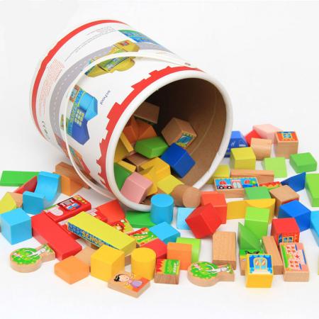 Cuburi constructie si puzzle din lemn - Orasul - 128 piese [3]