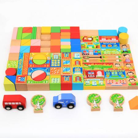 Cuburi constructie si puzzle din lemn - Orasul - 128 piese [2]
