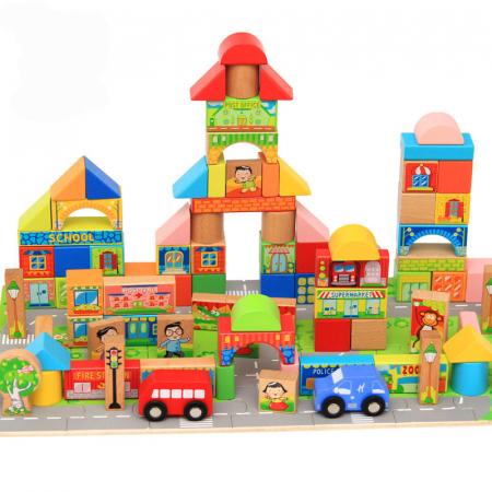 Cuburi constructie si puzzle din lemn - Orasul - 128 piese [1]