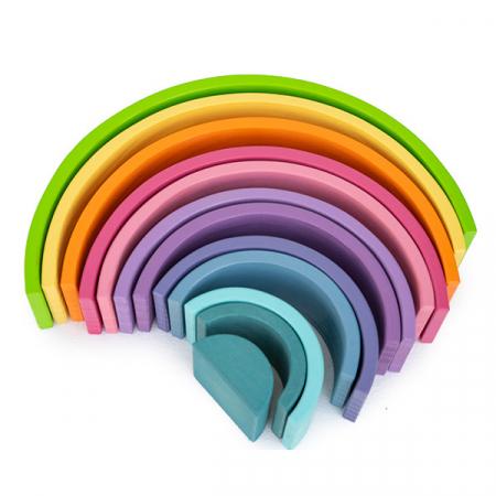 Curcubeu din lemn pastel-12 piese3
