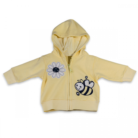 Hanorac galben cu albina si floare1