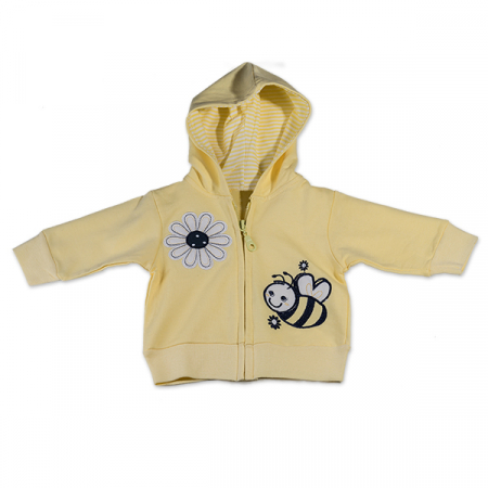Hanorac galben cu albina si floare0