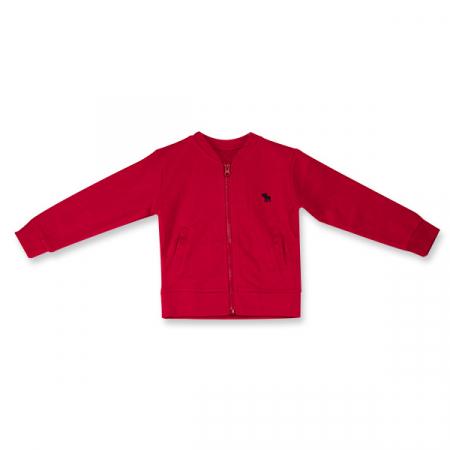 Cardigan rosu cu fermoar0