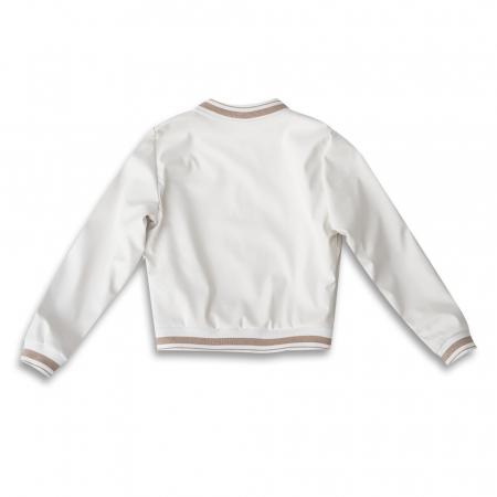 Jachetă Scurtă Cu Efect De Piele Culoare Alb1