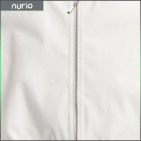 Jachetă Scurtă Cu Efect De Piele Culoare Alb2