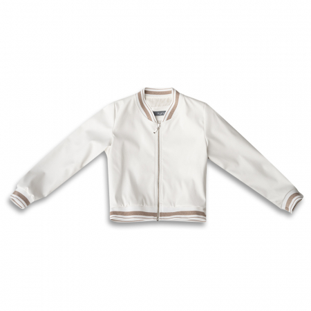 Jachetă Scurtă Cu Efect De Piele Culoare Alb0