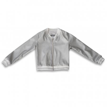 Jachetă Scurtă Cu Efect De Piele Culoare Argintiu [3]