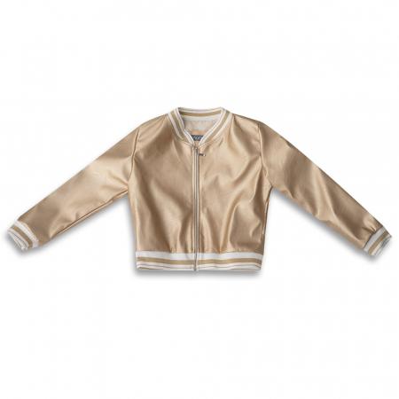 Jachetă Scurtă Cu Efect De Piele Culoare Auriu0