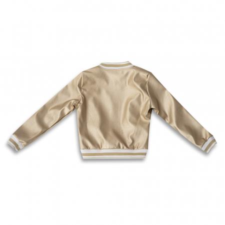 Jachetă Scurtă Cu Efect De Piele Culoare Auriu1