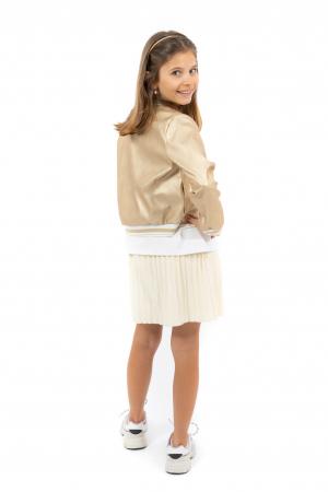 Jachetă Scurtă Cu Efect De Piele Culoare Auriu [2]