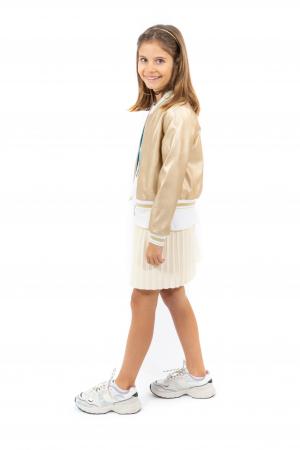 Jachetă Scurtă Cu Efect De Piele Culoare Auriu [1]