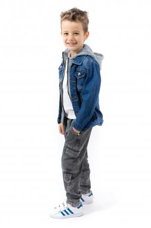 Jachetă Scurtă Din Denim Cu Glugă [2]