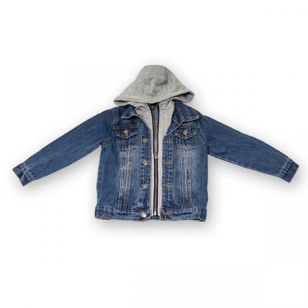 Jachetă Scurtă Din Denim Cu Glugă0
