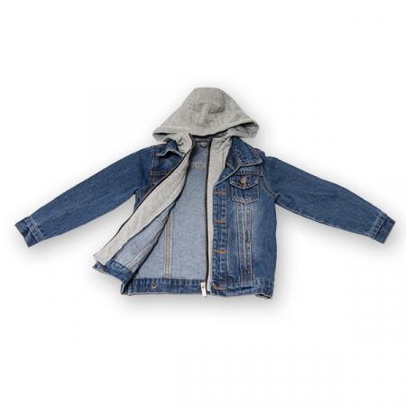 Jachetă Scurtă Din Denim Cu Glugă1