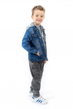 Jachetă Scurtă Din Denim Cu Glugă [1]