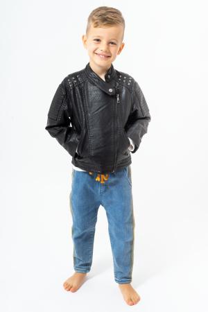 Jachetă tip biker cu efect de piele0