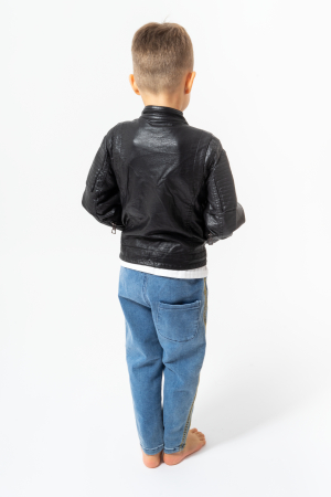 Jachetă tip biker cu efect de piele2