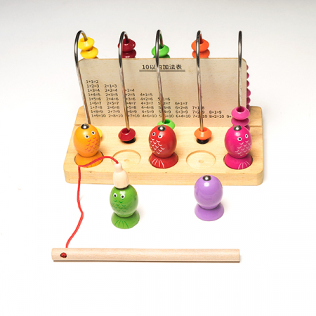 Joc din lemn 2 in 1 -  abac si pescuit magnetic1