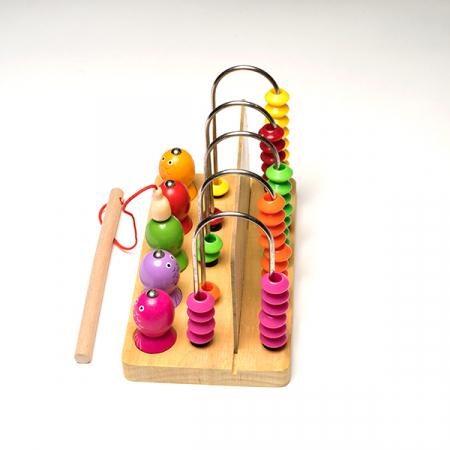 Joc din lemn 2 in 1 -  abac si pescuit magnetic0