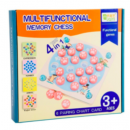 Joc din lemn 4 in 1 Multifunctional Memory Chess1
