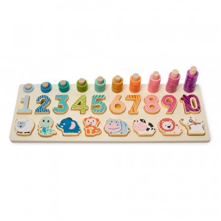 Joc logaritmic 3 in 1 din lemn de numărare, stivuire si sortare cu cifre si animalute1