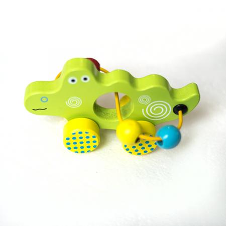 Mini jucarie din lemn cu spirala si bile - crocodil0