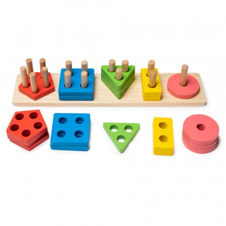 Jucarie din lemn - potrivire si stivuire 5 forme geometrice1