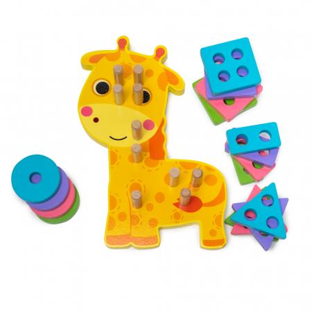 Jucarie din lemn - potrivire si stivuire 4 forme - girafa [0]