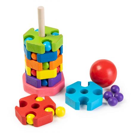 Jucarie din lemn tip puzzle - turn pentru stivuit0