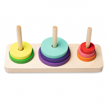 Jucarie educativa din lemn - turn cu 8 piese colorate1
