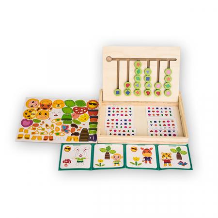 Jucarie multifunctionala din lemn cu tablita magnetica  si puzzle [0]