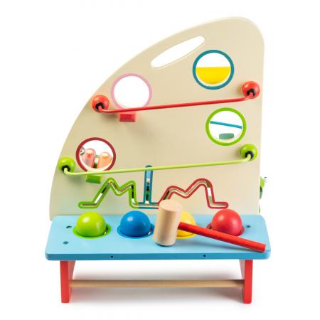 Jucarie multifunctionala din lemn - instrumente percutie si carusel bile1