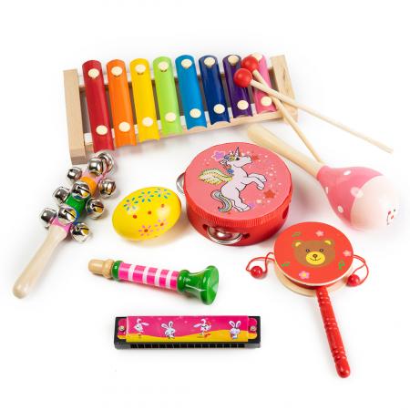 Set 8 instrumente muzicale din lemn0