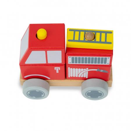 Blocuri de constructie din lemn tip masina de pompieri0