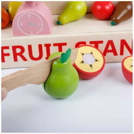 Magazin - stand pentru fructe si legume din lemn colorat cu accesorii3
