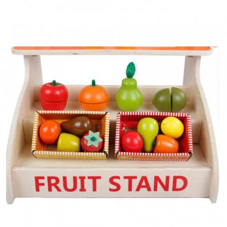 Magazin - stand pentru fructe si legume din lemn colorat cu accesorii1