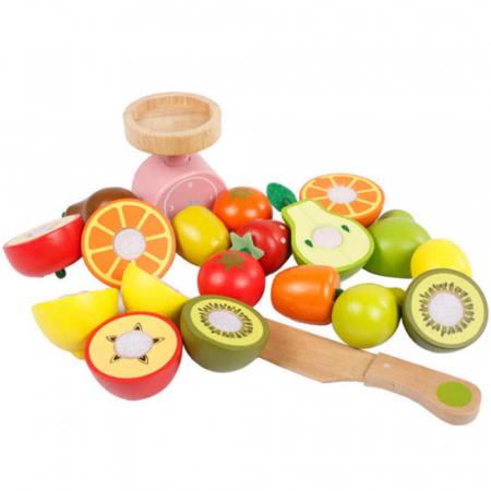 Magazin - stand pentru fructe si legume din lemn colorat cu accesorii2