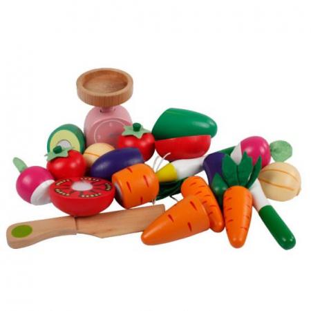 Magazin - stand pentru legume din lemn colorat cu accesorii2
