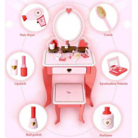 Masuta de make up din lemn cu scaunel si accesorii2