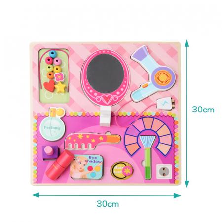 Masuta de make up din lemn roz cu accesorii-puzzle 3D2