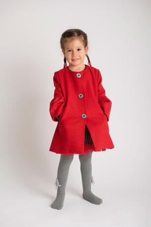 Palton Elegant Rosu cu Nasturi0