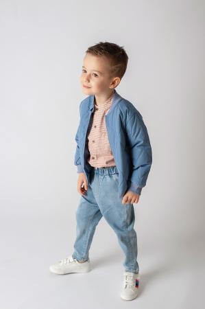 Pantalon denim albastru cu elastic in talie5