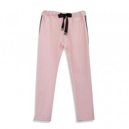 Pantalon Lung din Bumbac cu Dungi Contrastante [0]