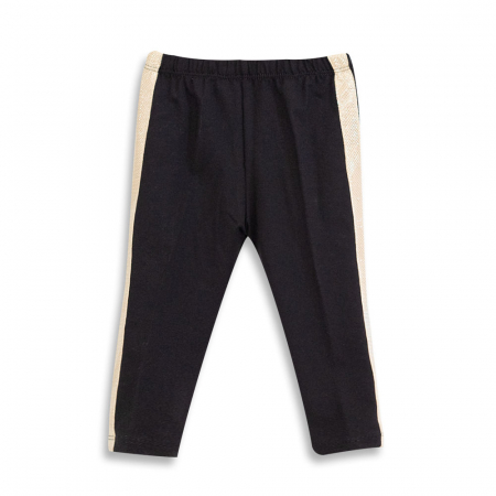 Pantalon tip legging culoare negru cu dungi contrastante0