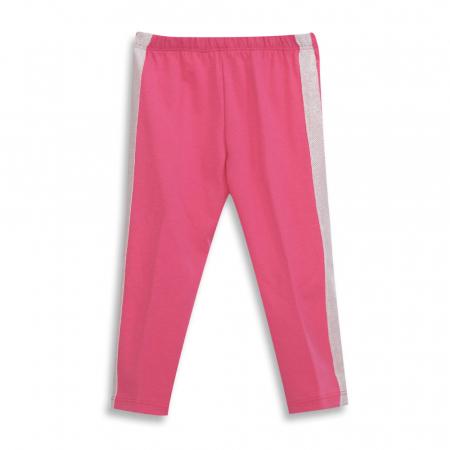 Pantalon tip legging culoare roz cu dungi contrastante [0]