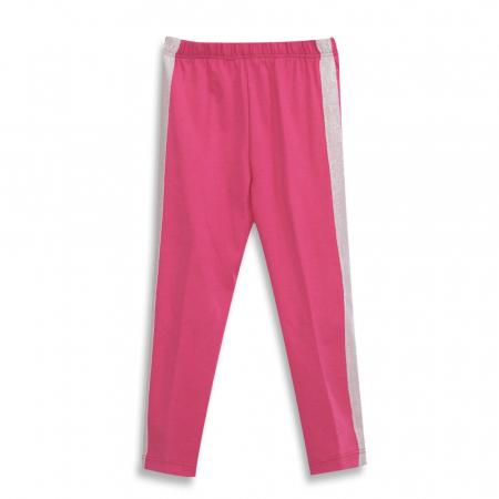 Pantalon tip legging culoare fucsia cu dungi contrastante0