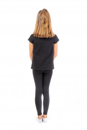 Pantalon tip legging culoare negru cu dungi contrastante [3]