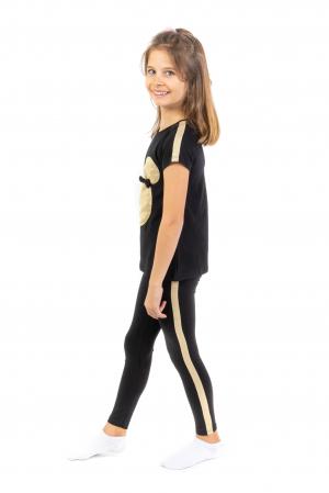 Pantalon tip legging culoare negru cu dungi contrastante [0]