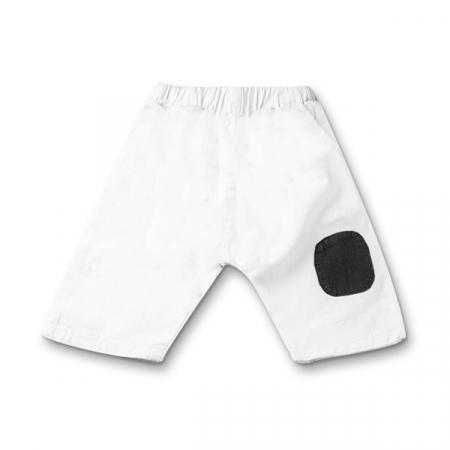 Pantaloni albi din bumbac si in cu bulina maro [0]